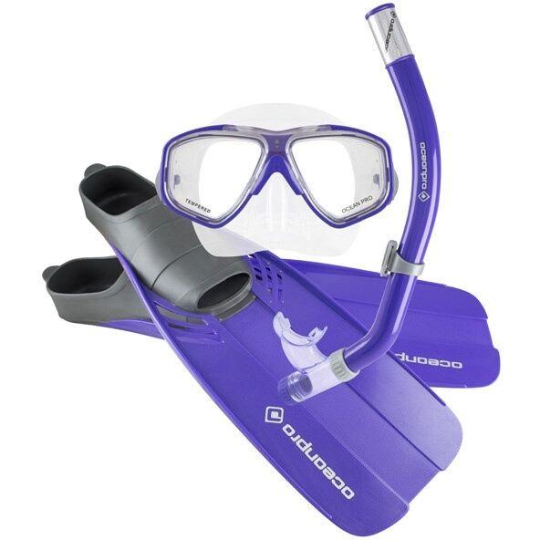 Ocean Pro Tour Mask, Snorkel & Fin Set (Adult - Purple)
