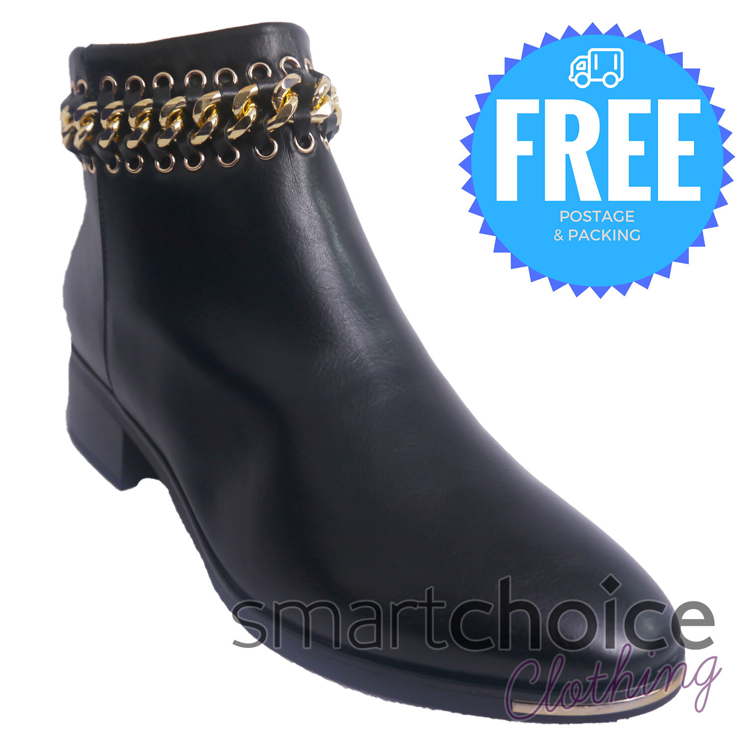 NEW LADIES WOMENS WINTER ANKLE FASHION LEATHER ZIP ANKLE BOOTS SHOES BLACK