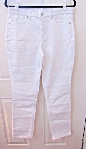 """NWOT Denim /& Co /""""How Slimming/"""" Colored Denim Straight Leg Jeans White"""
