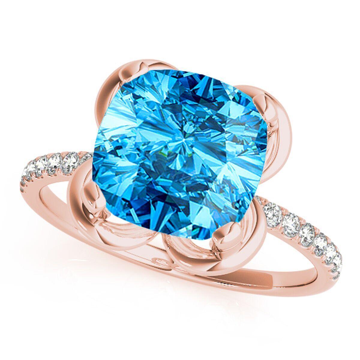 2.25 Ct.Twt Cushion Shape bluee Topaz Diamond Ring In 10K gold
