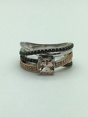 Vintage Ring Size 10 Sterling Silver 925 Wavy Band With Black Czs Used