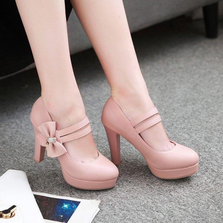 Fashion Ankle Strap High Heels Platform Stilettos Pumps Bow Tie Women shoes