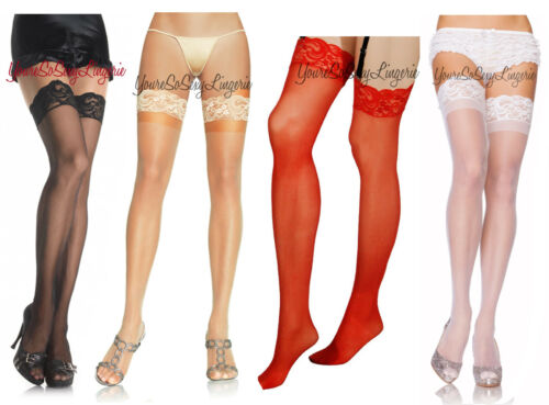 """Plus Size Sheer LACE TOP STOCKINGS THIGH stretches 26/"""" AROUND TOP Queen"""