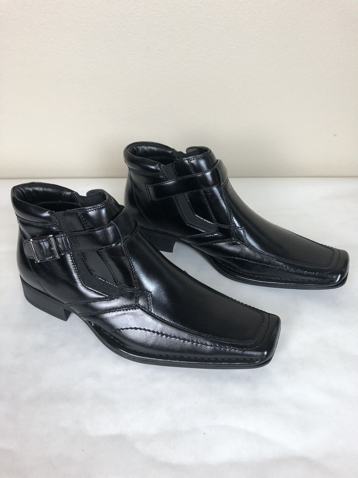 Giorgio Brutini Mens MARCELO Black Leather Slip On Dress Ankle Boots Size 9