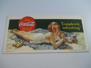 Coca-Cola-Completely-Refreshing-Ink-Blotter-1942-Original-Excellent