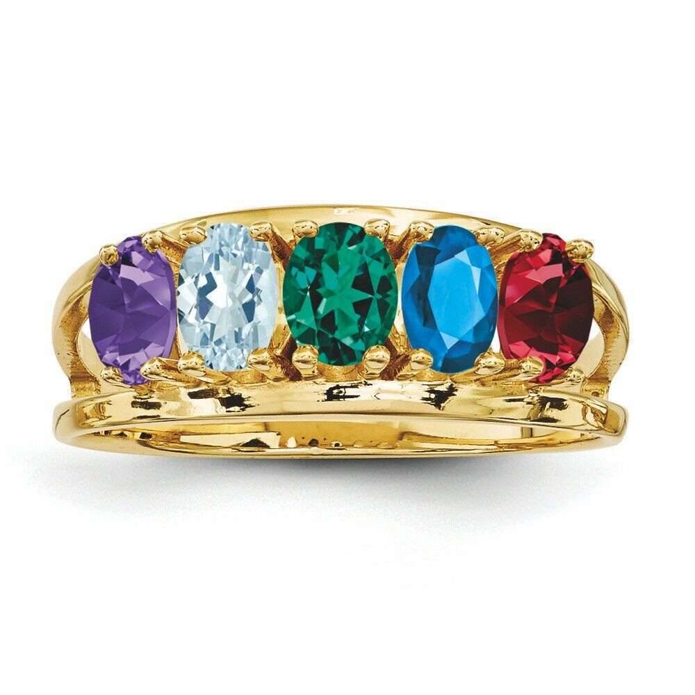 Mothers Rings 14K Solid gold 1 to 6 Oval Birthstones, Mother Day Ring