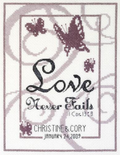 """/""""love never fails/'s corinthiens cross stitch kit par janlynn 14 comte aida"""