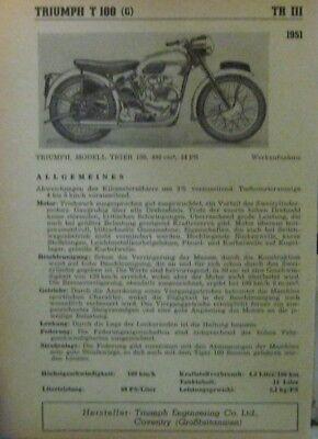 * Triumph T 100 T100 Coventry Typenblatt 1951 Original * QualitäT Und QuantitäT Gesichert