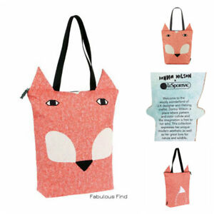 LeSportsac-Donna-Wilson-Fox-Tote-Freddie-Fox-Embroidered-Free-Ship-Reversible