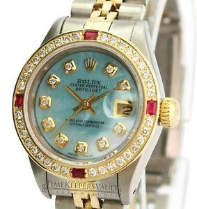 Rolex-Lady-Datejust-26mm-Blue-MOP-Diamond-Dial-Diamond-Bezel-QUICKSET