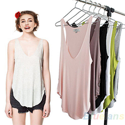 Fashion Womens Summer Loose Sleeveless V-Neck Vest Tank Tops T-Shirt B84U