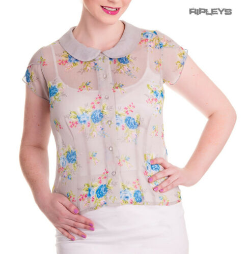 Hell Bunny Shirt 50s Top Floral Flowers ROSLYN Grey Chiffon Blouse All Sizes