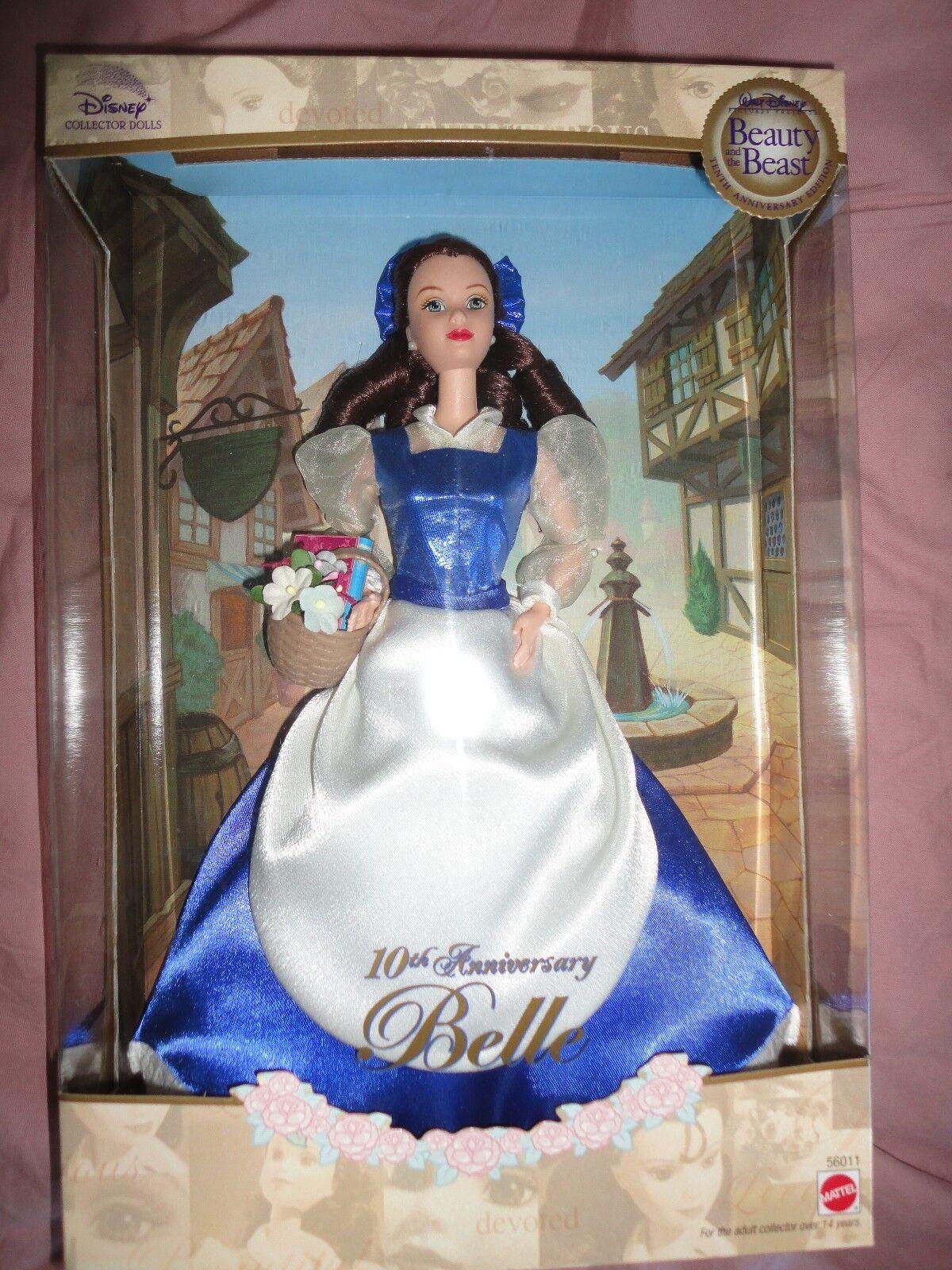 10th aniversario de la Bella Y La Bestia Belle Muñeca Barbie nunca quitado de la caja en caja como nuevo muy difícil de encontrar