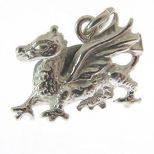 STERLING SILVER WELSH DRAGON CHARM.  925 SILVER DRAGON CHARM or PENDANT