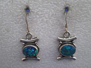 Vintage Sterling Silver White Opal Dangle Drop Earrings