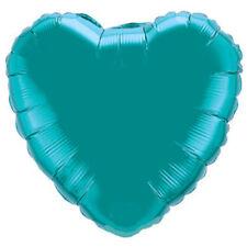 "18"" Solid Teal Heart Shape Balloon Wedding Baby Shower Birthday Luau Turquoise"