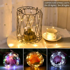 LED-fee-Lumiere-Lampe-fil-cuiver-argente-chaud-blanc-multicolore-allume-a-piles