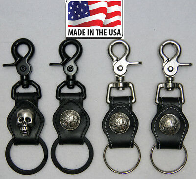 Key Chain Biker Trucker Key Fob Ring Genuine Leather Double Snap Belt Loop