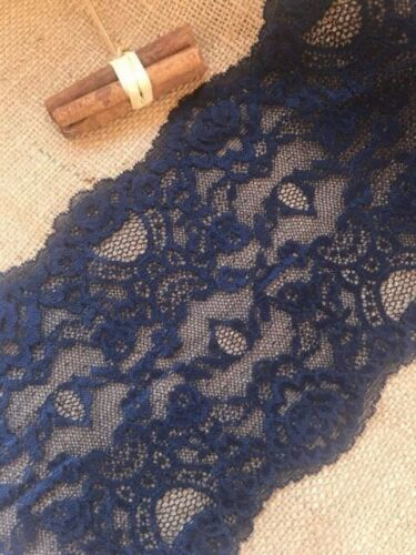 "Navy Blue Soft Stretch Lace Wide 6.75/""//17 cm Lingerie Craft Sew Table Runner"