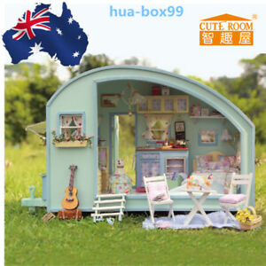 Xmas gift diy wooden toy doll house miniature kit caravan dollhouse image is loading xmas gift diy wooden toy doll house miniature solutioingenieria Images