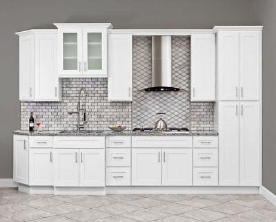 10x10 All Solid Wood Kitchen Cabinets Alpina White Rta New Ebay
