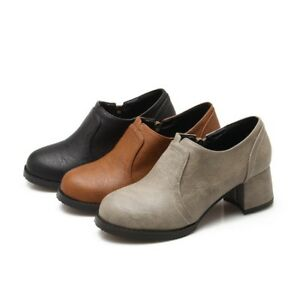 Women-039-s-Round-Toe-Oxfords-Block-Mid-Heels-Side-Zip-Low-Top-Casual-Leather-Shoes