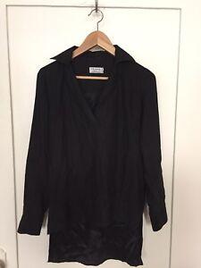 8867d9e26b6c04 FRAME Denim 100% Silk Charmeuse Hi-Lo Long Sleeve Black V Neck Size ...