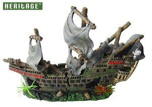 Heritage Ws027m Aquarium Fish Tank Ornement d'épave de bateau de bateau de pirate 42cm