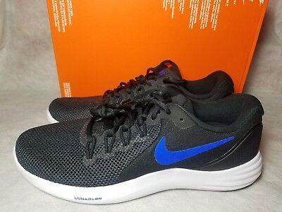 New Nike Air Lunar Apparent Running Walking Shoe Size 12 Black Racer Blue White | eBay