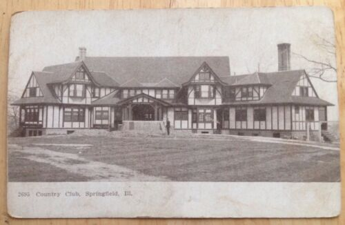 1910s SPRINGFIELD, IL, COUNTRY CLUB BUILDING POSTCARD