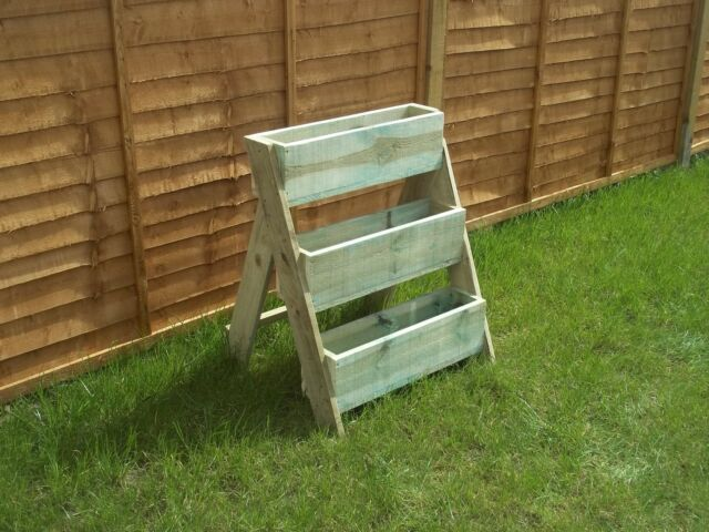 Hand made 3 Tier Wooden Garden Herb Strawberry Planter.