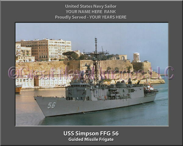 USS Simpson FFG 56 Personalized Canvas Ship Photo Print 2 Navy Veteran Gift