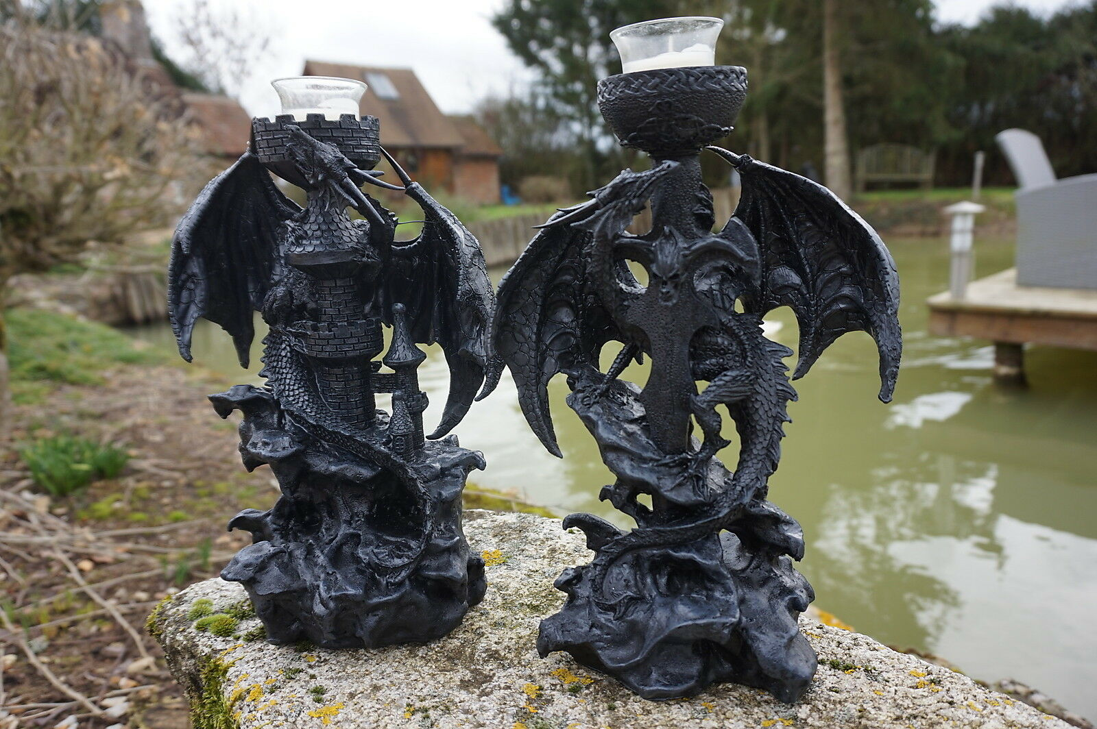 87022V   FIGURINE  RESINE DRAGON black BOUGEOIRS SET DE 2   HEROIC FANTASY 30 %