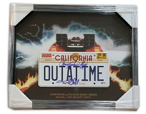 CHRISTOPHER-LLOYD-MICHAEL-J-FOX-BACK-TO-THE-FUTURE-SIGNED-OUTATIME-PLATE-BECKETT