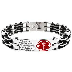 Stainless-Steel-Medical-Alert-ID-Black-Rubber-Biker-Bracelet-FREE-ENGRAVING