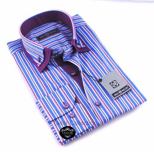 NUOVISSIMA LINEA UOMO BIANCO BLU /& VIOLA A RIGHE Doppio colletto della camicia slim fit formale