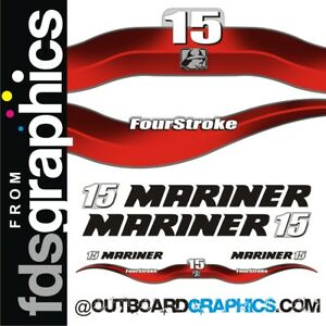 Mariner 15hp 4 stroke outboard engine decals//sticker kit
