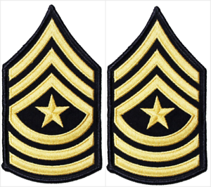2-Pair-US-Army-Sergeant-Major-E-9-Rank-Gold-on-Blue-Chevron-Patches-Male