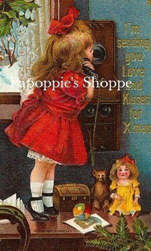 Victorian Christmas Fabric Block Vintage Girl Telephone Call to Santa
