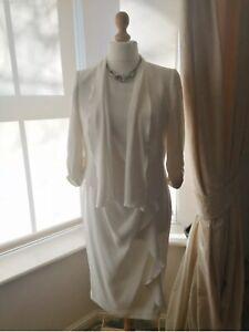 COAST-Ivory-White-Dress-Bolero-Jacket-Two-Piece-14-16-Wedding-Stretchy-Maternity