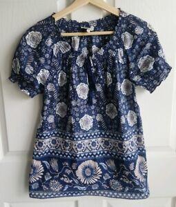 Joie-Womens-Navy-Blue-Floral-Tassel-Masha-Blouse-Top-Shirt-Size-XS-Short-Sleeve