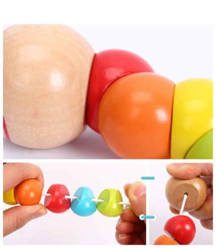 Cute Baby Kids Twist Caterpillars Wooden Toys Infant Creative Educational Gift