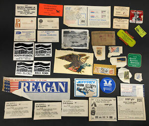 Vintage Junk Drawer Paper Lot Stamps Business Cards Mining Stickers Pepsi Exxon