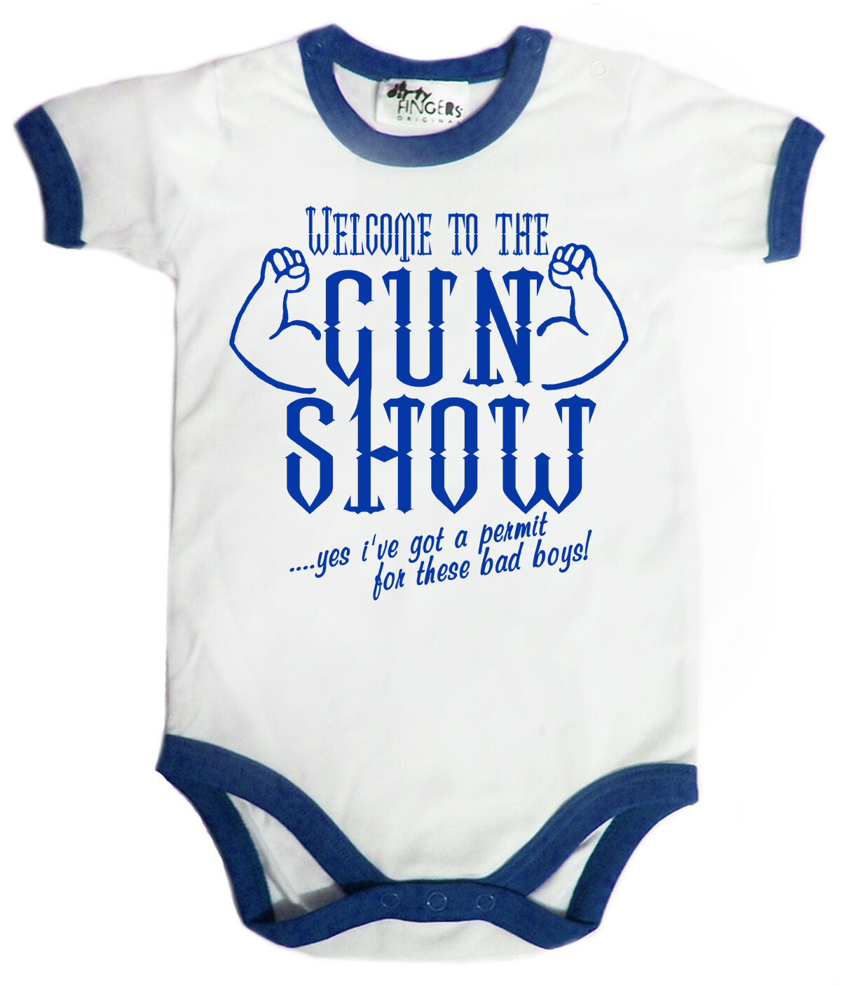 """Lustig Baby Body /"""" Welcome To The Pistole Show /"""" Getrimmt Strampler Muskeln Gym"""