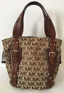 c34ef4cf1f66 Image is loading MICHAEL-KORS-Lattington-Signature-Brown-Jacquard-Leather- Large-