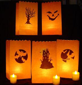 10-Halloween-Orange-Paper-Lantern-Bags-Party-Decoration-Flameproof-Looy-Loot-Bag