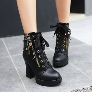 WOmen-039-s-High-Block-heels-Round-toe-Platform-High-Top-Lace-up-Leather-Ankle-Boots
