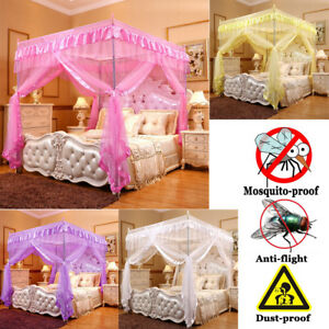 Princess-Bed-Canopy-Mosquito-Netting-Bed-Metal-Frame-Post-Twin-Full-Queen-Size