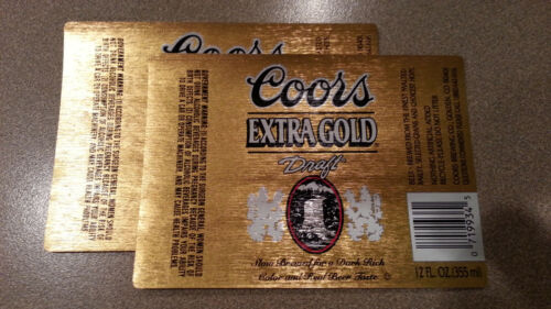 TWO Super Cool Coors Extra Gold Draft Beer Labels Mint!