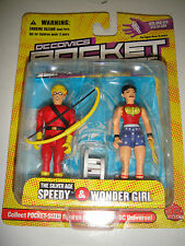 "DC DIRECT SILVER SPEEDY & WONDER GIRL JLA POCKET SUPER HEROES  3 1/4"" FIGURE"